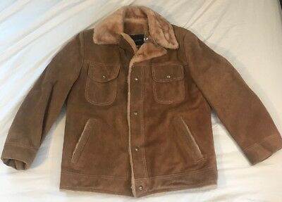 eff08305c53 JCPenney Vtg 1970 s Suede Snaps Brown Faux Sherpa Lined Jacket Coat Men s  ...