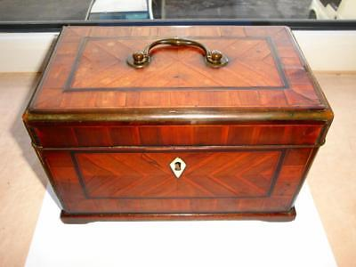 EXCEPTIONAL RARE ANTIQUE CHIPPENDALE 18th CENT GEORGIAN TEA CADDY MARQUETRY BOX