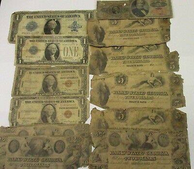 Lot Of Fractional Currency, Obsolete Notes, Funny Back, Hawaii & Large Note
