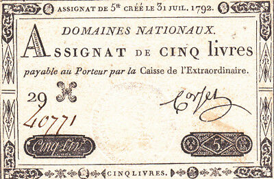 5 Livres Very Fine Banknote From French Revolution 1791!pick-A42!