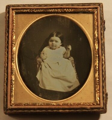 1850s 6th Plate Size Daguerreotype Photo of a Baby Very Young Child