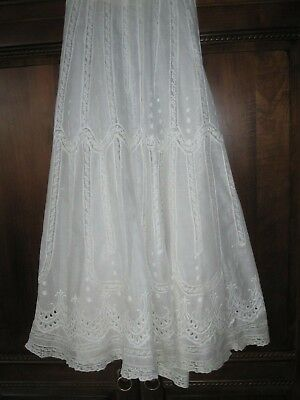 Antique Victorian Edwardian Embroidered White Linen Lace Lawn Skirt Pettitcoat S