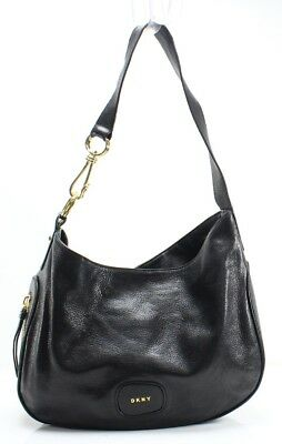 DKNY Black Leather Randall Medium Hobo Zip Top Shoulder Bag Purse  298-  072 70ee5b3455120