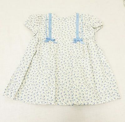 SALE Girls Alber Spanish Blue Lace & Bows Ditsy Flowers Print Dress 12-24 Month