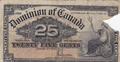 25 Cents Vg Banknote From Dominion Of Canada1900!!!