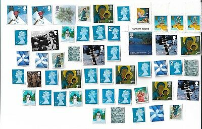 50 Unfranked Second 2nd Class Stamps off paper (4 with full adhesive)