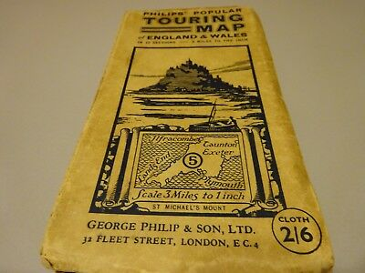 vintage Philips touring map of Cornwall