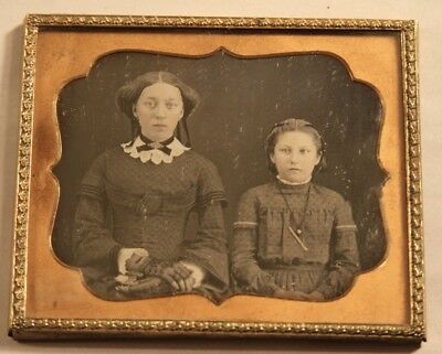 1850s 6th Plate Size Daguerreotype Photo of Two Well Dressed Sisters