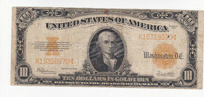 10 Dollars Fine- Gold Certificate Banknote From Usa 1922!rare!pick-274