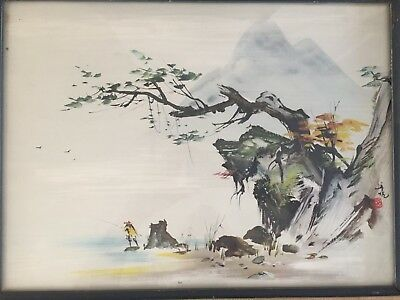 Vintage Mid Century Framed CHINESE Landscape MAN FISHING Red Stamp Mark Print