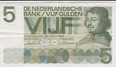 5 Gulden Very Fine Crispy Banknote From Netherlands 1966!pick-90