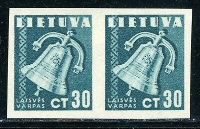 LITHUANIA MH Selections: Scott #321 30c Liberty Bell IMPERF PAIR $$$