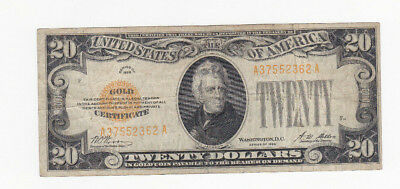 20 Dollars Fine Gold Certificate Banknote From Usa 1928!rare!pick-401