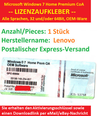 Microsoft Windows 7 Home Premium CoA Lizenzaufkleber Downloadlink LENOVO x86 x64