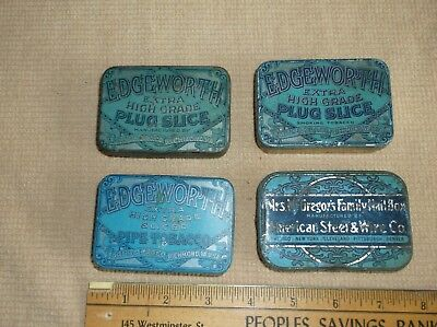 antique tin advertising box lot, Edgeworth Tobacco and McGregor's Nail, 4 total
