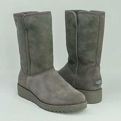 505fe0c1c684 UGG Amie Wedge Suede Boots Women s Shoes Gray NIB 1013428
