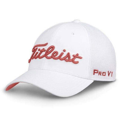 Titleist Golf Tour Sports Mesh Fitted Hat Cap Size: L/Xl White/Island Red 19579