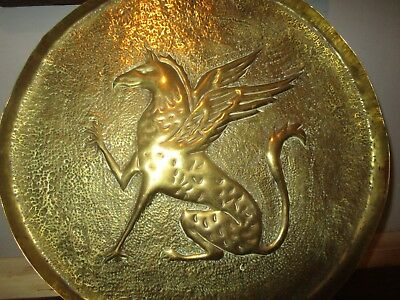 Antique Arts & Crafts era 27cm hammered Brass tray with Griffin in centre