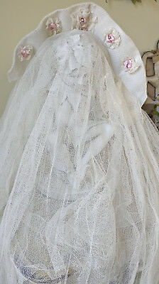 Antique 1920s Wedding Veil Pink Ribbonwork Rosettes Pearls Lace Tulle Headpiece