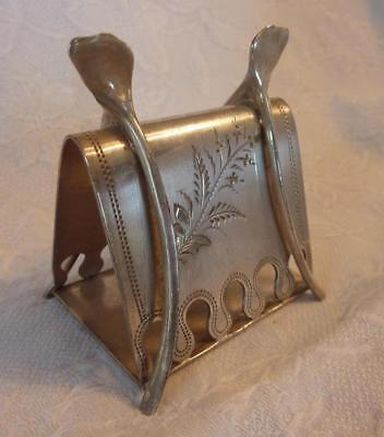 Vtg. WILCOX SILVERPLATE Double Wishbone NAPKIN HOLDER/Ring Floral