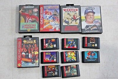 Lot of 13 Sega Genesis games some have Boxes and Manuals Sonic Montana WWF