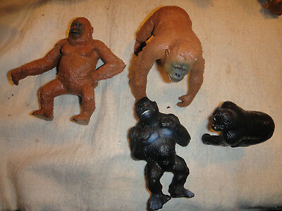 4 toy rubber plastic Apes, Gorillas, Playskool King Kong as seen