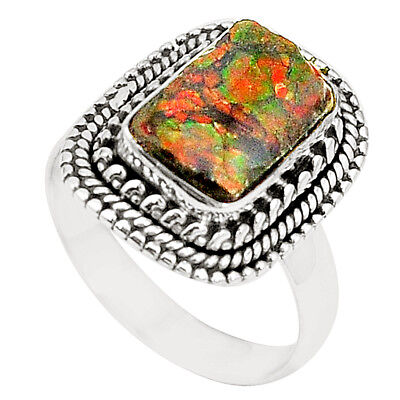Natural Multi Color Ammolite (canadian) 925 Sterling Silver Ring Size 7.5 M35690