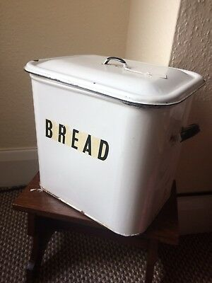 Large Vintage Antique English Bread Box Tin Made In Britain Retro Enamel