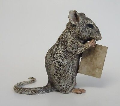 Austria SIGNED Bronze Figurine FIELD MOUSE CHEESE Rat Metal Cold-Painted