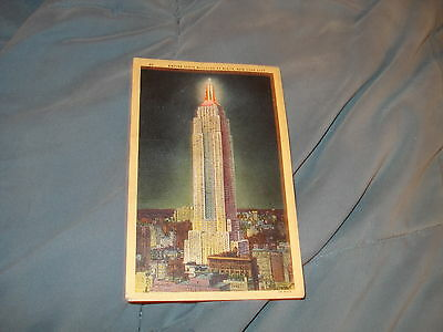 Empire State Building At Night, New York City Vintage Postcard