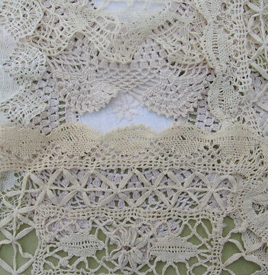 Vintage Doily Lot of Fancy Crochet Lace ECRU DOILIES Intricate & Ornate NR