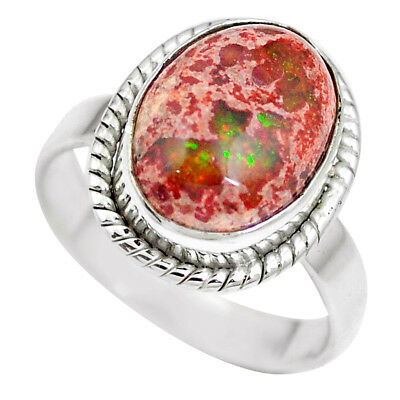 925 Silver Natural Multi Color Mexican Fire Opal Ring Jewelry Size 8 M65757