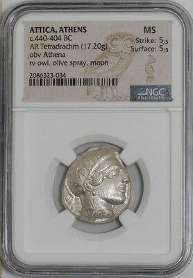 Athens Attica Greece 440 BC Ancient Silver Greek Tetradrachm Owl NGC MS 5/5 5/5