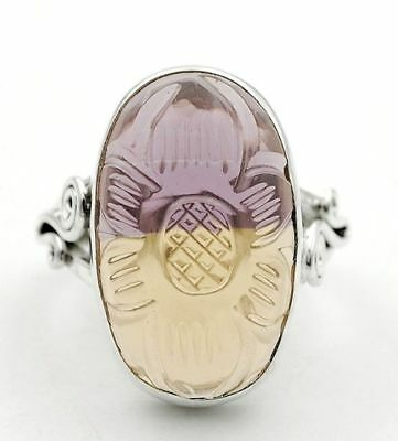 Hand Carved Ametrine 925 Solid Sterling Silver Ring Jewelry Sz 6, H6-1