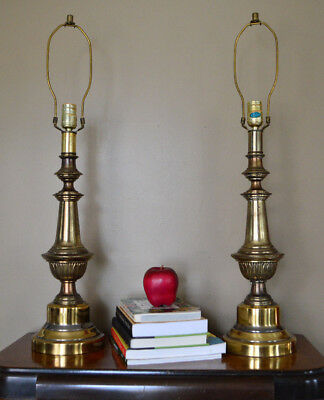 Vintage Pair of Brass Table Lamps Working 3 Way Lamps No Shades