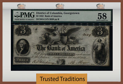 Tt 1852 $3 Obsolete District Of Columbia, Georgetown Remainder Pmg 58 Choice!
