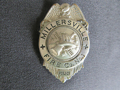 1900's MILLERSVILLE Pennsylvania Fire Co. No. 1 Embossed Badge MINT