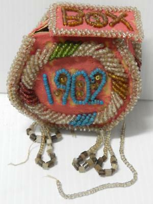 Antique Victorian Civil War Era Iroquois Indian Beaded Whimsey Box Pouch 1902