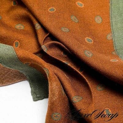 NWOT Cesare Attolini Rust Green Paisley Spotted Wool Silk Pocket Square NR A1P