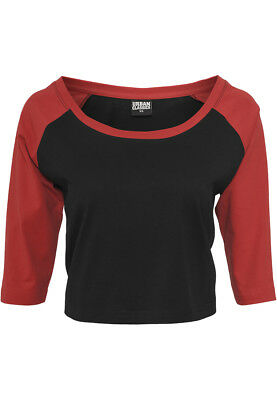 Urban Classics Damen T-Shirt Ladies Cropped 3/4 Raglan Tee TB924