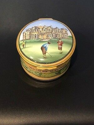 Halcyon Days Enamels The Old Course St. Andrews Golf Large Trinket Box