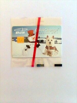 "1995 Bell Canada QuickChange ""SNOWMAN & DOG"" $10 PrePaid Chip Phone Card NEW"