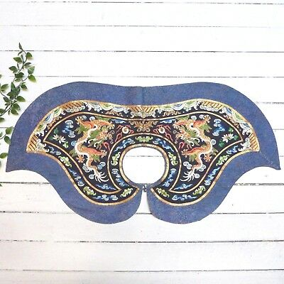 Antique China Chinese Intricate Beaded Embroidered Dragon Shoulder Cape Piece