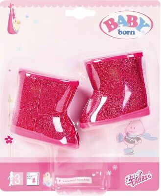 Baby Born Doll Winter Boots Pink Sparkly Shoes Brand New In Pack For Ages 3 +