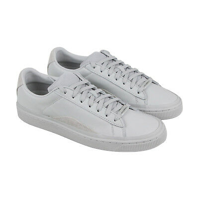 Puma Basket Han Mens White Leather Lace Up Trainers Shoes