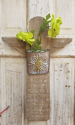 Rustic Wood Wall Hanging Angel w Metal Planter Box Pocket Country Outdoor Garden