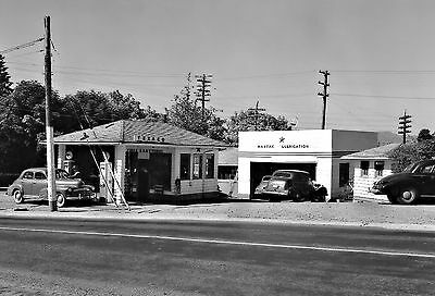 TEXACO FIRE-CHIEF MARFAK GAS STATION 1940'S TIRES BATTERIES 5x7 GLOSSY