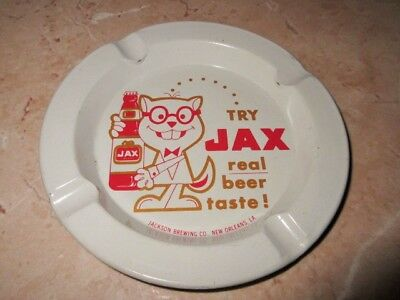 Vintage Metal Jax Beer Ashtray W /bottle & Cat Jackson Brewery New Orleans La