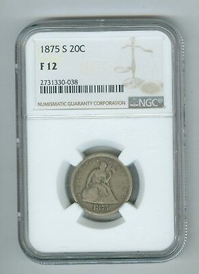 1876 S F12 NGC 20 Cents Coin, Nice Surfaces