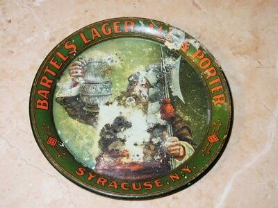 Pre Pro Bartels Beer Advertising Tip Tray Syracuse New York (Knight Watcher)